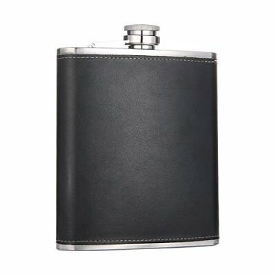 18 oz Large Capacity Black Stainless Steel Whiskey Hip Flask for Liquor with Lea