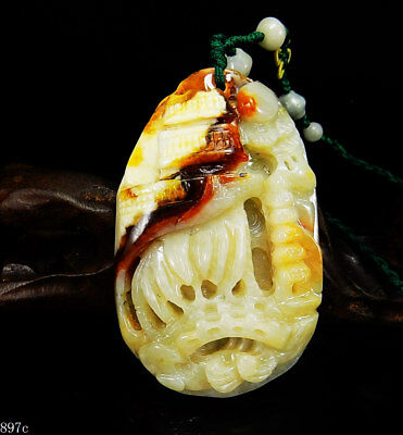 100% Natural Hand-carved Chinese Jade Pendant jadeite Necklace scenery 897C
