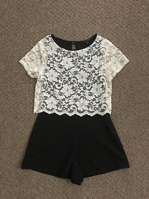 Girls Candy Couture Cream Lace & Black Playsuit Age 14