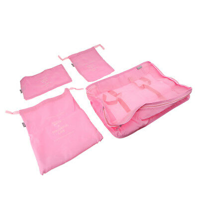 Travel Luggage Bags Organizer Set Storage Pouches Suitcase Packing Pink