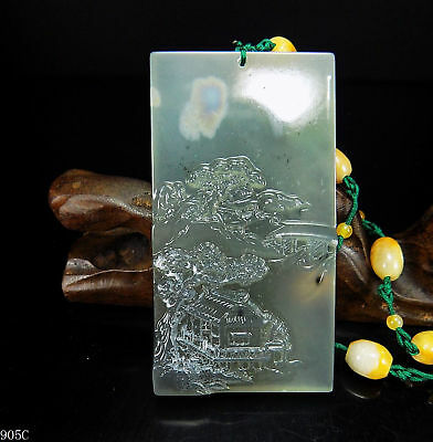 100% Natural Hand-carved Chinese Jade Pendant jadeite Necklace scenery 905C
