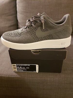 New Nike Air Force 1 One Af1 Ultra Flyknit Low Dark Grey White Size 11.5