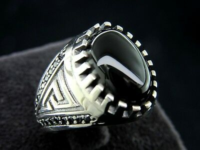 Turkish Handmade Ottoman Style 925 Sterling Silver Obsidian Men's Ring Size 8.75