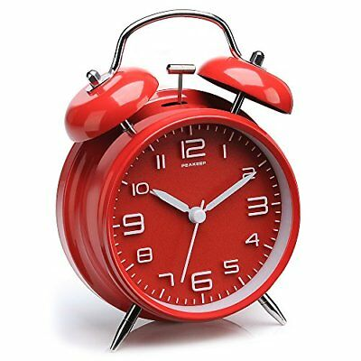 """Peakeep 4"""" Twin Bell Alarm Clock with Stereoscopic Dial, Backlight, Battery"""