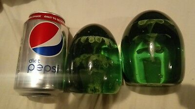 Antique rare Victorian dumps glass pair paper weights large