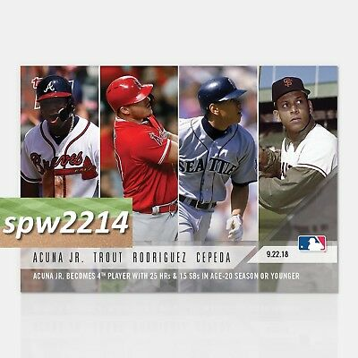 2018 Topps Now Acuna/Trout/Rodriguez/Cepeda #763 25 HR & 15 SB Age 20