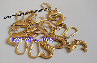 Vintage Reproduction Solid Brass Nautical Maritime FISH Key Chain Lot Of 50 Pcs