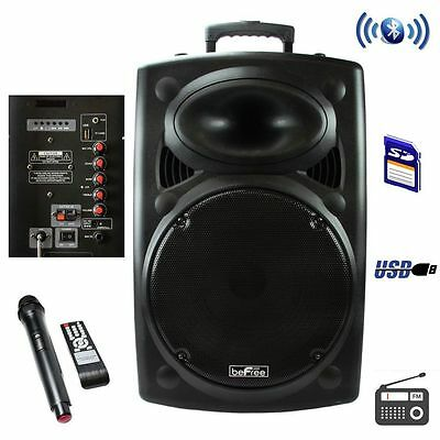 "beFree Sound 15"" 900W Bluetooth Portable PA DJ Party Speaker USB/Remote/Mic"