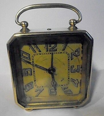 Vintage / Antique  Swiss Made Solid Brass Carriage Travel ALARM Clock D.F.& C