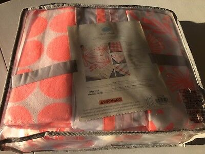 Cloud Island Little Sprout 4 Pc Crib Set Coral Baby Girl Quilt Blanket Orange