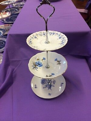 Three Tier Blue Vintage Pattern Cake Plate Stand