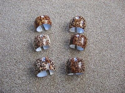 Set Of 6 Vintage Cowrie Shell Napkin Rings Napkin Holders - Retro / Chic