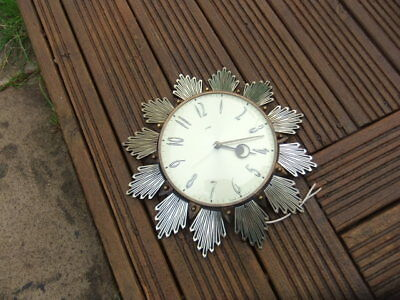 VINTAGE 1960's METAMEC SUNBURST STARBURST ELECTRIC  WALL CLOCK WORKING ORDER 240