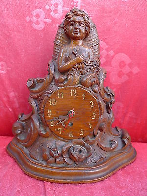 Beautiful, Old Fireplace Clock __ Figurine __ Wood Carved __31cm__ Watch Housing