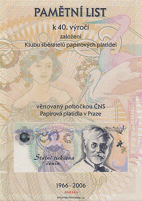 CZECH TEST NOTE - OFFICIAL STATE PRINTING Alphonse Mucha - sheet 20x30 !  UNC !!