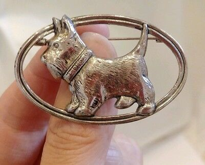 Vintage Art Nouveau Art Deco Scottie Dog West Highland Terrier Dog Brooch / Pin