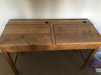 Old Wooden Double Vintage/Retro School Desk