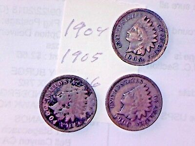 1904,1905,1906 Indian Head Cent Lot