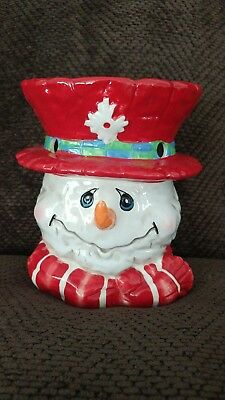 Home Interiors Snowman Tart Burner Red Hat Smiling Excellent Used Condition NICE