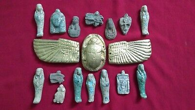 Ancient Egyptian rare winged Scarab + 15 Amulets ( 1816 BC)