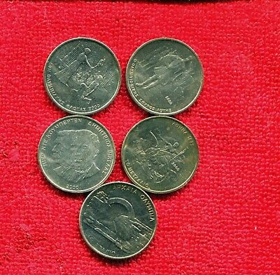 Greece Lot Of 5 1 Year Type Coins Unc 5.00