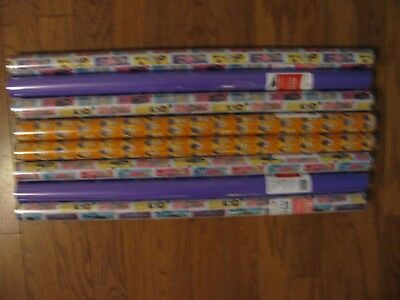 Lot of Gift Wrap 8 Rolls Barbie Despicable Me Purple Kids Roll Wrapping Paper