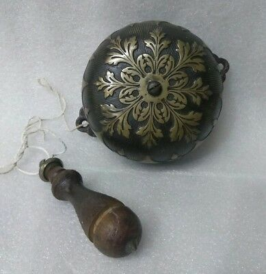 Antique BRASS VICTORIAN DOOR BELL Cast Iron Pull Action Style PAT 1872 1873