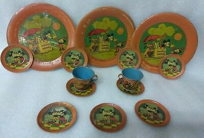 Vintage 1930's Disney Mickey Mouse  Litho Tin Hispanish Childs Play Serving Set
