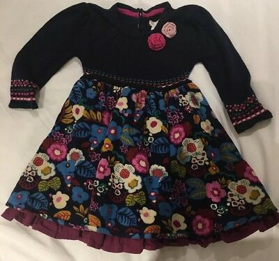 Monsoon Baby Girl Dress Size 6-12 Months Cord Flowers Pink, Purple And Navy