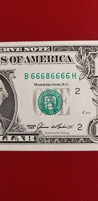 $1 Fancy Serial Number Near Solid 66686666