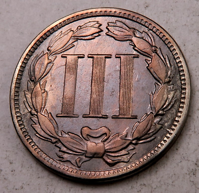 1866 Three Cent Coin (3 Cent) // XF // (T941)