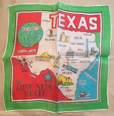 """Vintage Pre-WWII Texas Silk Scarf Flag Hand Rolled In Japan 10.5"""" x 10.5"""" Green"""