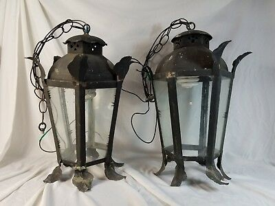 Pair Copper Antique Swag Gas Electrified Lamps Salvaged Jungle Club Hotel FL