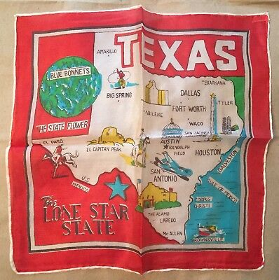 """Vintage Pre-WWII Texas Silk Scarf Flag Hand Rolled In Japan 10.5"""" x 10.5"""" Red"""