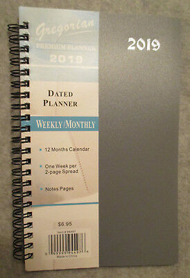 "2019 Premium GRAY SPIRAL PLANNER WEEKLY/MONTHLY 8X5"" NOTES ADDRESS PHONE - NEW"