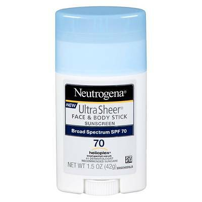 Neutrogena Ultra Sheer Face & Body Stick Sunscreen Broad Spectrum SPF 70 1.5 OZ.