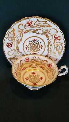 Vintage Royal Chelsea White w/ Gold Gilt Floral Tea Cup and Saucer Set England