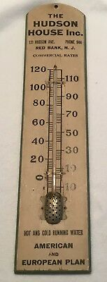 *NO RESERVE* Antique Advertising Thermometer Hudson House Hotel Red Bank NJ