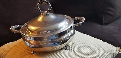 VINTAGE FOOTED ENGLISH SILVER MFG CORP USA CASSEROLE WITH LID With Tongs