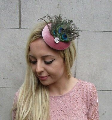 Dusky Rose Pink Velvet Peacock Pillbox Feather Hat Fascinator Hair Clip 6264