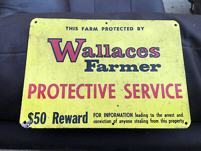 "Vintage WALLACES FARMER Protective Service Metal Sign 9.75"" Tin BARN POST SIGN"