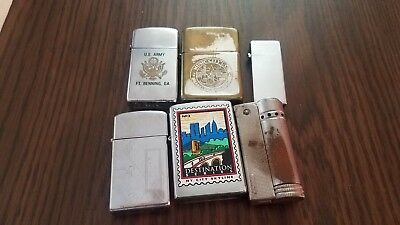 Lot Of 6 Vintage Lighter .all Zippo Except 2 Of Them