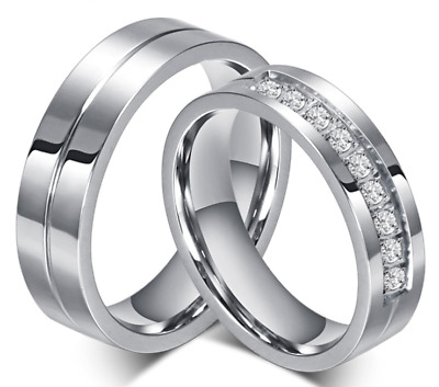 Stainless Steel 316L Silver CZ Engraved Grooved Promise Ring Couple Wedding Band