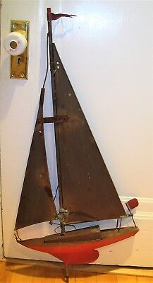 """Vintage Copper? Weathervane Sailboat, Yacht? 38"""" Tall x 17 3/4"""" Wide"""