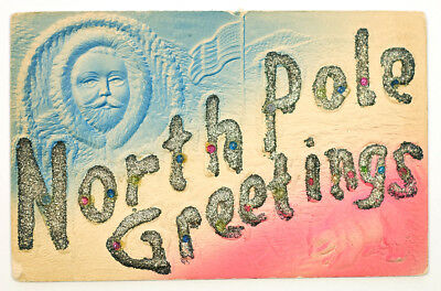 Early 1900s embossed North Pole antique post card Eskimo polar bear
