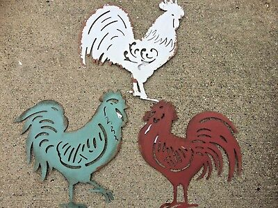 SET OF 3 Metal French Country Rooster Chicken Wall Art Rustic ...