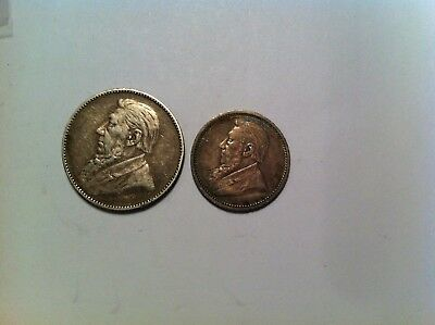 South Africa Silver Coin Lot, 1895 6 Pence + 1897 Shilling, Mid Grade, African 9