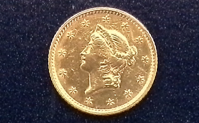 1853 Liberty Head $1 Gold Coin Raw Ungraded Uncertified Ex-Belt Buckle