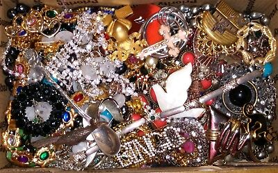 Huge Vintage To Now Junk Drawer Jewelry Lot Estate Find Unsearched Untested #827