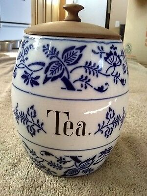Antique Blue Onion Tea canister Jar Germany Wooden lid Variant 4